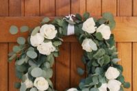 15 eucalyptus and white roses wedding wreath is a romantic decoration