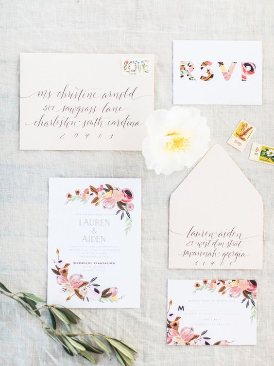 spring wedding invitation suite with flowers