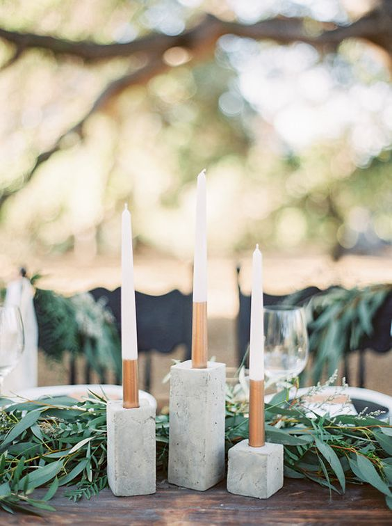 concrete candle holders with color block candles