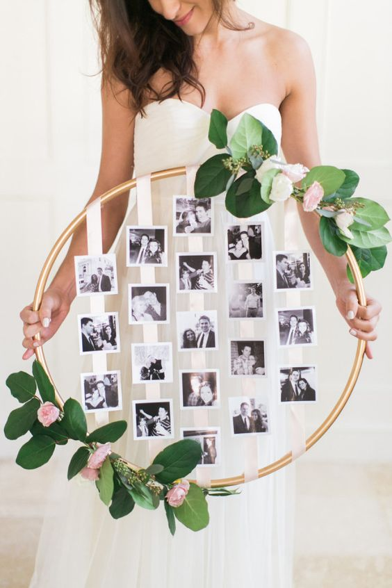 floral and greenery hoop with family photos for display