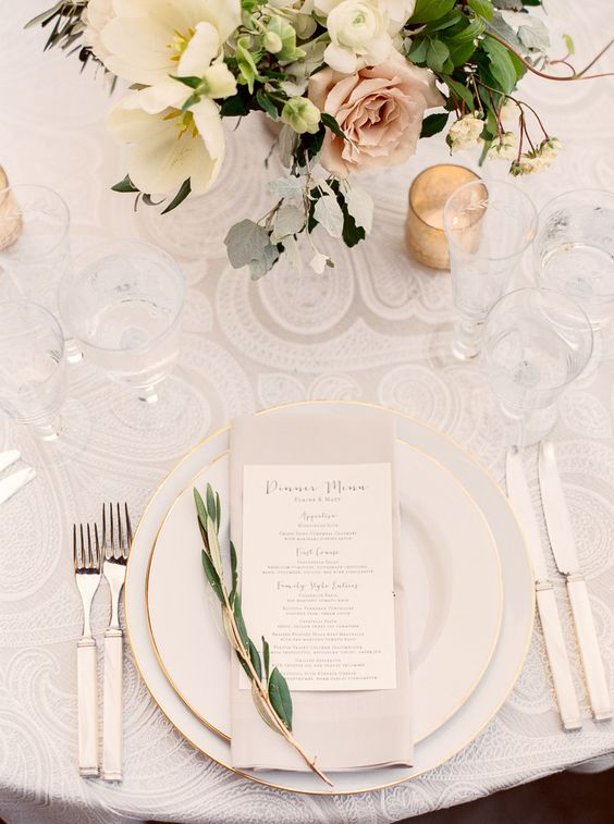 lace tablecloth, flowers and greenery, fresh spring look