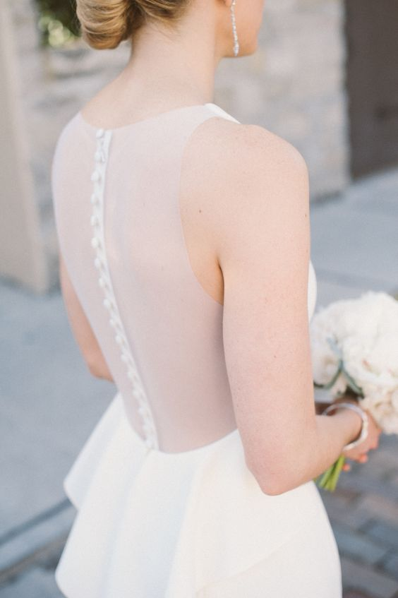modern sheer back wedding dress with fabric-covered buttons