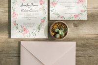 16 spring flower polka dot invitations and a blush envelope