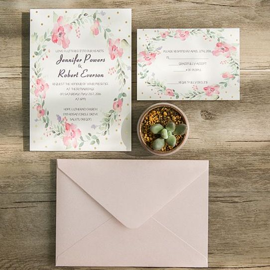 spring flower polka dot invitations and a blush envelope