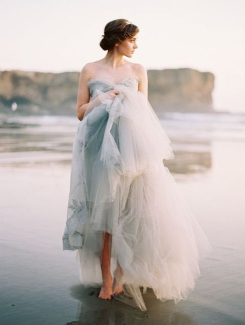 strapless tulle dove grey wedding dress for a coastal bride
