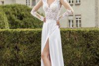 17 V-neck long sleeve wedding dress with a side slit