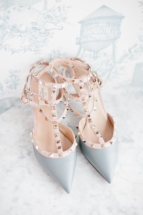 famous Valentino heels with spikes in dove grey
