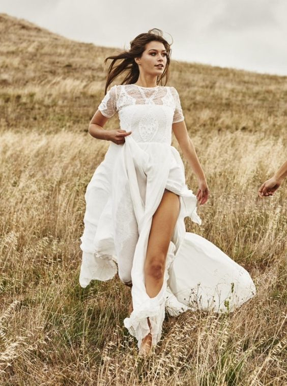 Lace Top Short Sleeve Wedding Dress With A Side Slit