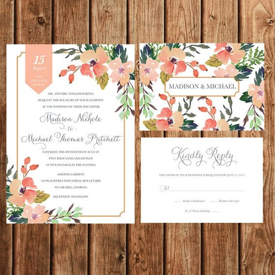 peach and coral floral wedidng stationary