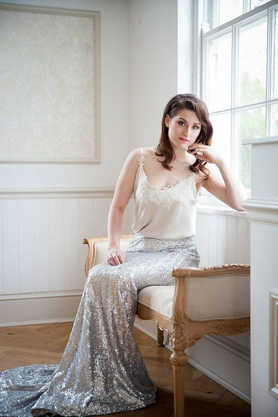 silver sequin maxi skirt with a train and an ivory lace top