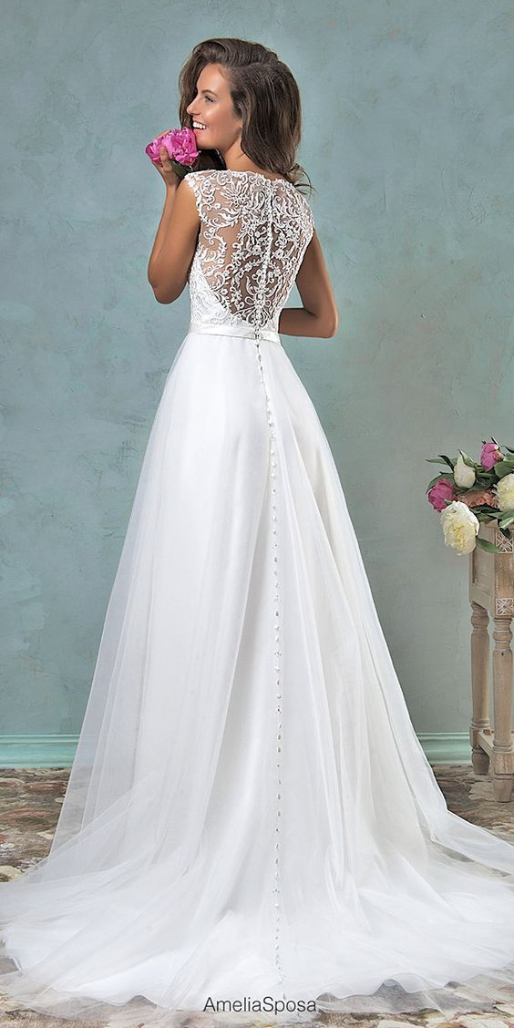 36 Refined Wedding Dresses With A Buttoned Back , Weddingomania