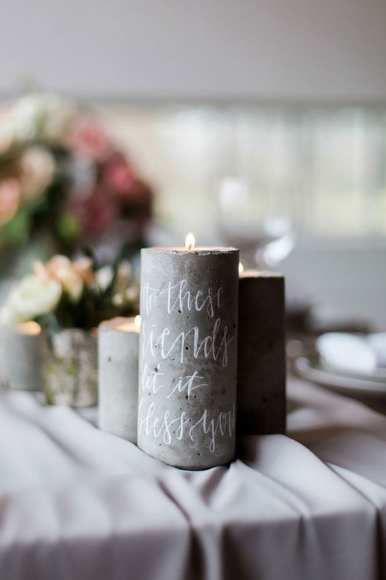 concrete candle holders with your favorite quotes for each table
