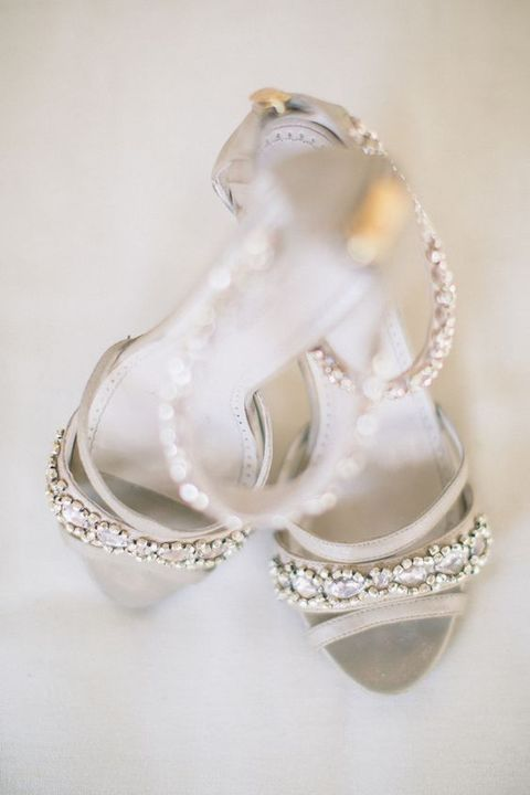 gorgeous bejeweled dove grey shoes