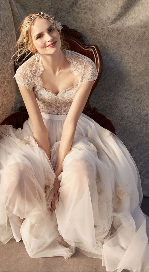 lace cap sleeve bodice and a tulle skirt dress