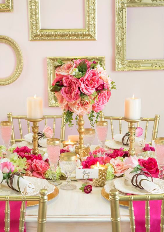 blush and fuchsia decor with a lot of gold for a glam look