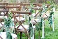 19 eucalyptus, flowers and ribbon for aisle chair decor