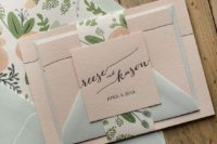 19 mint and blush stationary with floral prints