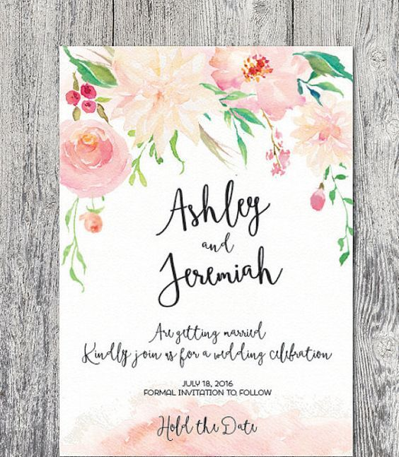 colorful watercolor save-the-date with watercolor flowers