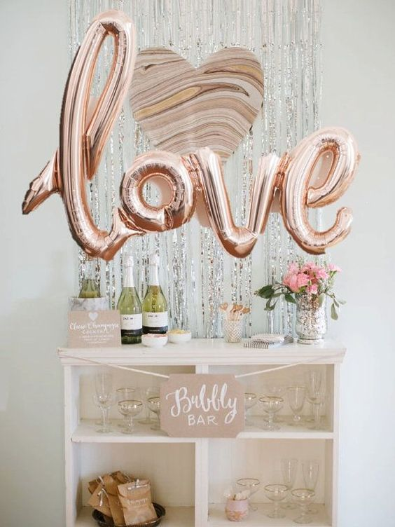 love script rose gold balloons