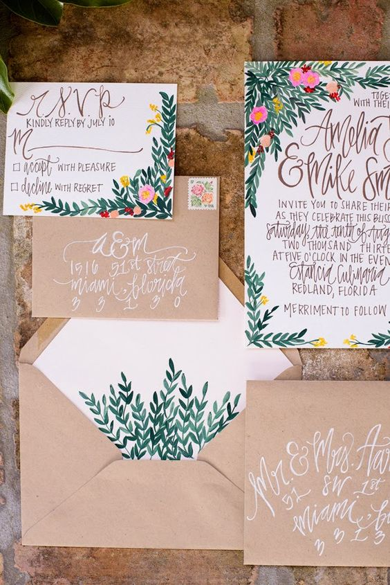 bold greenery and flower stationary with kraft paper envelopes