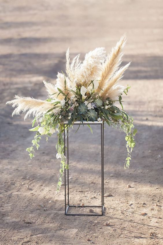 pampas and succulents wedding decor for the aisle and not only