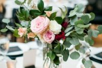 22 a color block metallic vase with eucalyptus and roses