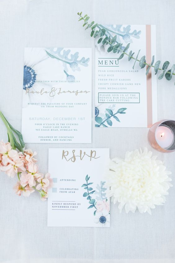 dusty blue and grey eucalyptus stationary with copper touches