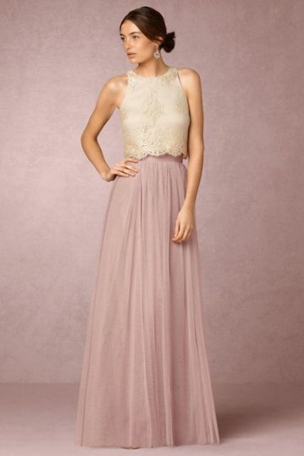 rose quartz maxi tulle skirt and an ivory lace top