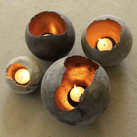 add a warm glow to the modern concrete trend with these concrete glow balls