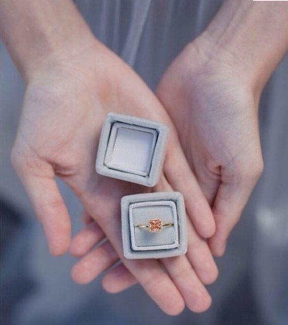 dove grey wedding or engagement ring box