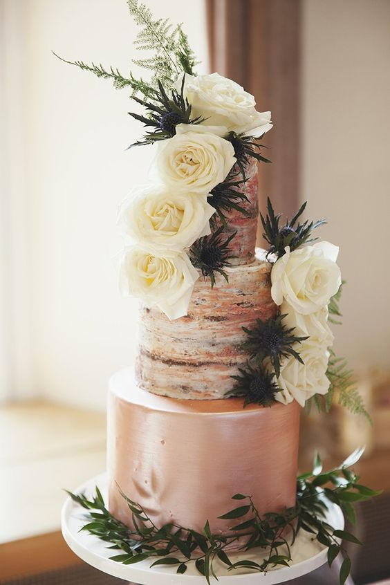 semi naked rose gold wedding cake with thistles and flowers