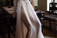 23 sleeveless sweetheart neckline wedding dress with a slit skirt