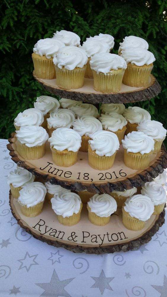 three-tier wood slice cupcake stand