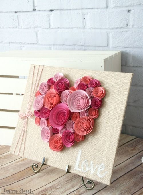 quilling pink and fuchsia heart art