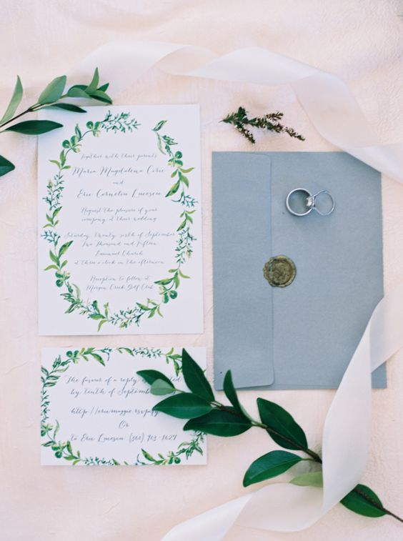 spring foliage invitation suite and a light blue envelope