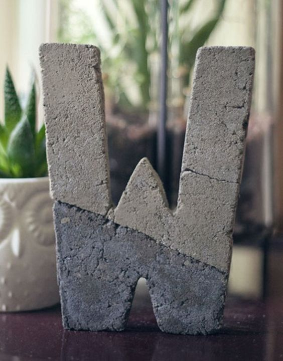 color block concrete monograms can be nice wedidng decor