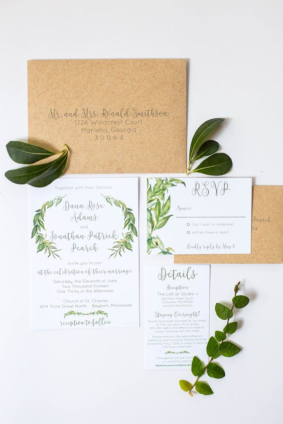 natural botanical rustic invitations