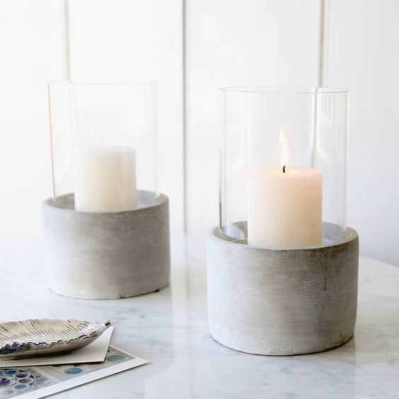 concrete and glass candle holders for any ceremony