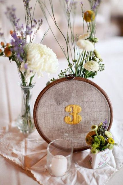 embroidered table numbers for table decor