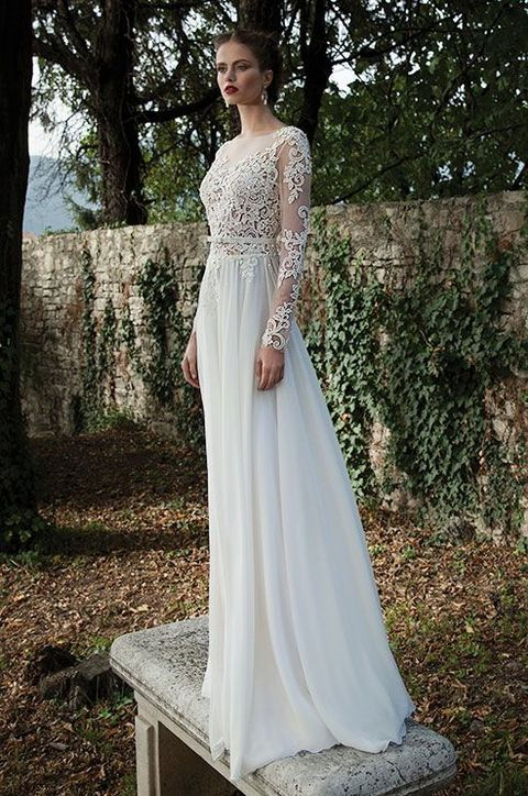 lace applique bodice and sleeves with an airy skirt