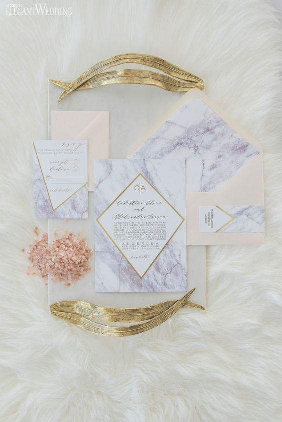 marble wedding invitations with gold geometric accents