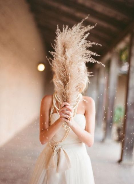 pampas grass as a unique wedding bouquet