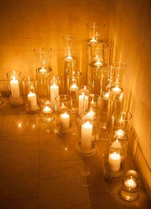 candles in transparent candle holders is right what you need for a cozy ambience