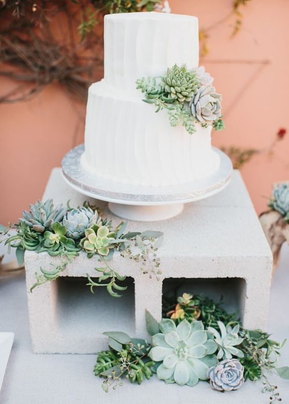 concrete cake stand decorated with succulents