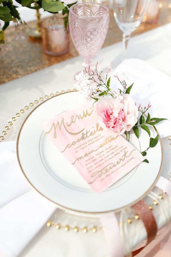 pink and blush table setting with peonies