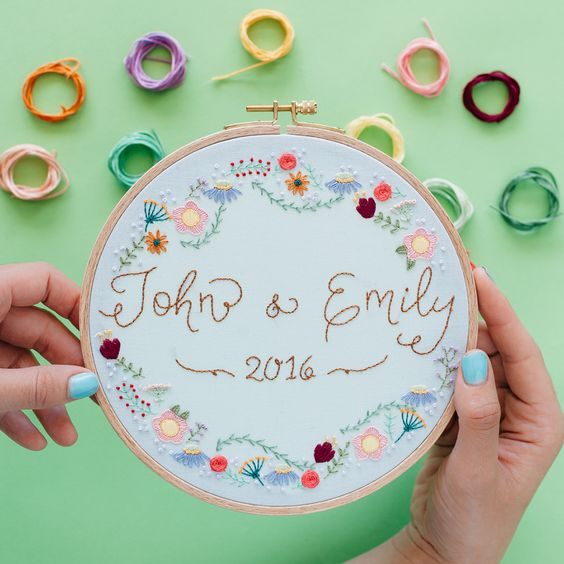 embroidery in a hoop as a wedding gift