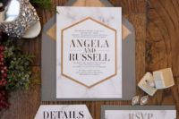 28 modern wedding stationary with geometric design, marble and wood prints