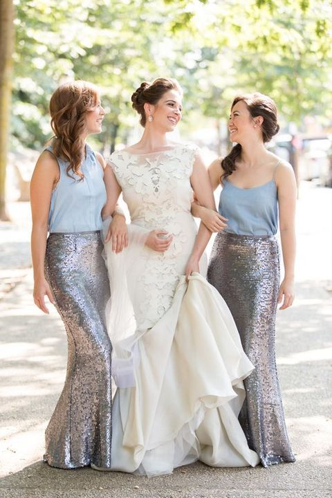 silver maxi skirts and light blue tops