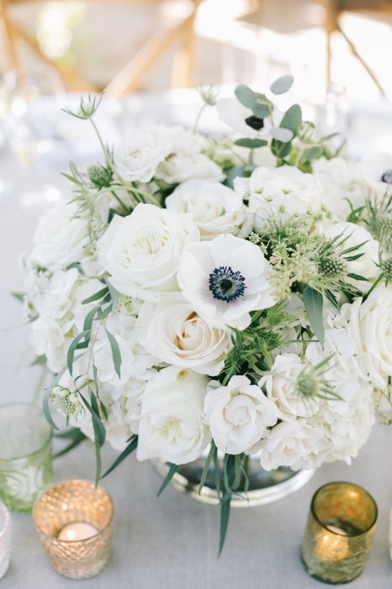 white and greenery wedding flower centerpiece
