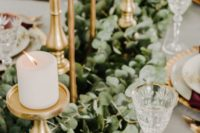 29 eucalyptus table garland with gold metallic candle sticks